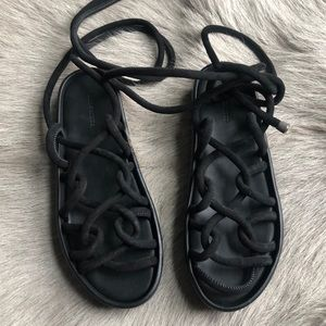 New All Saints Kofu Black Platform Sandals 38